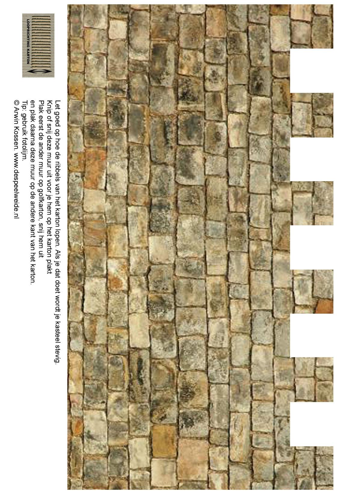 Maak je eigen gratis kasteel van karton - Muur van de ingang ...